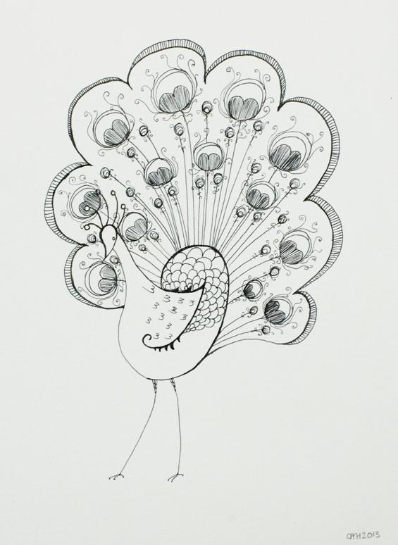 peacock doodle