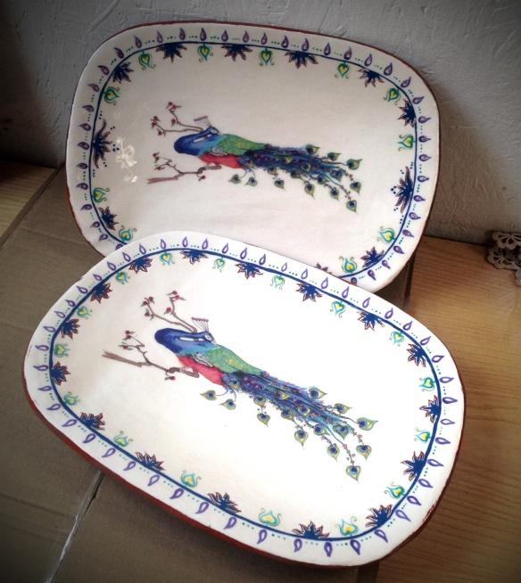 peacock platter pair