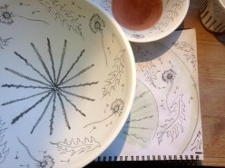 2 dandelion sketch and underglaze