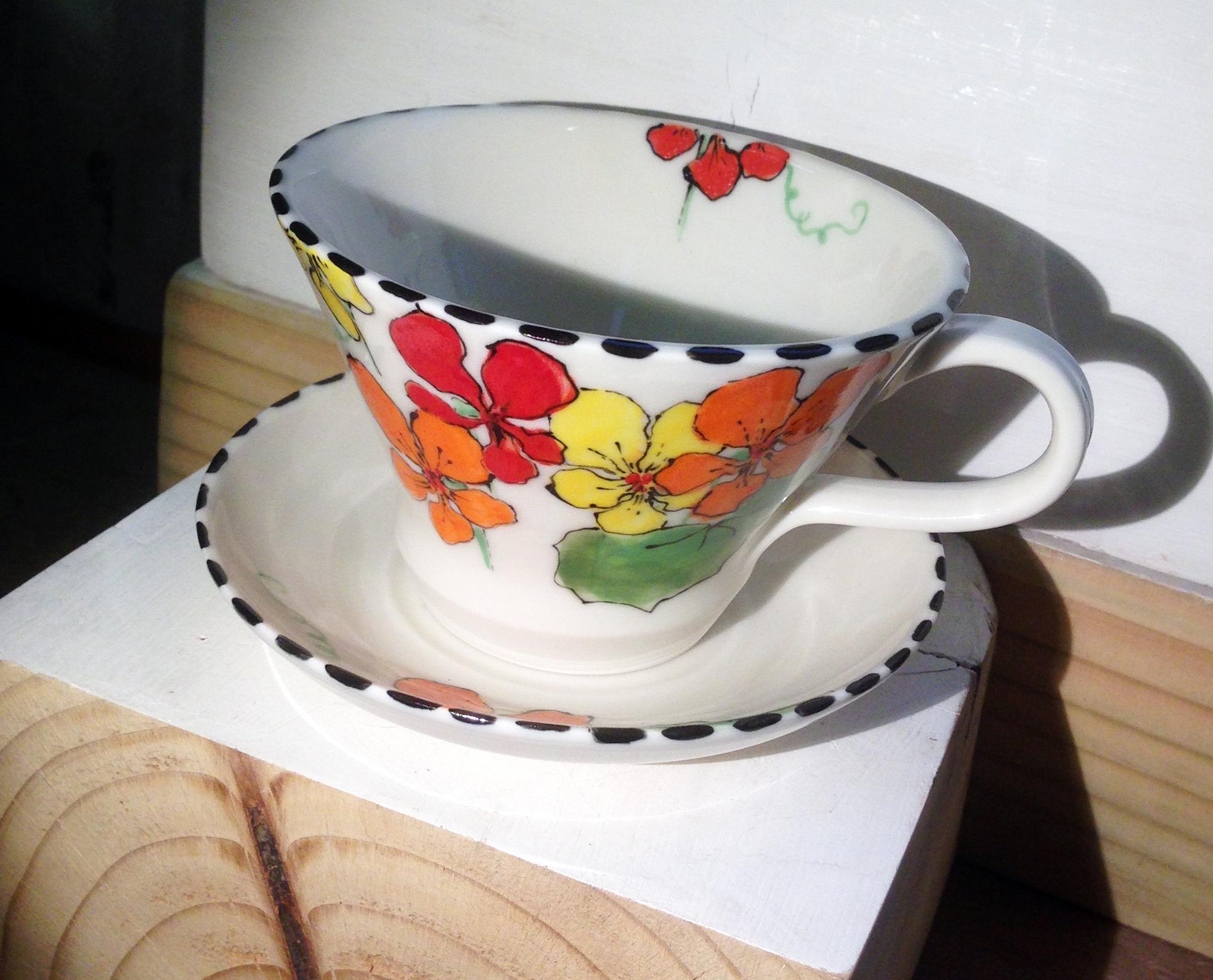 nasturtium tea cup