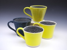 Volcanic Yellow and Storm Blue mugs