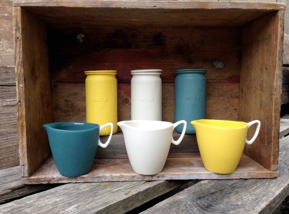ATCF 1 Slipcast Vessels Yellow White and Teal